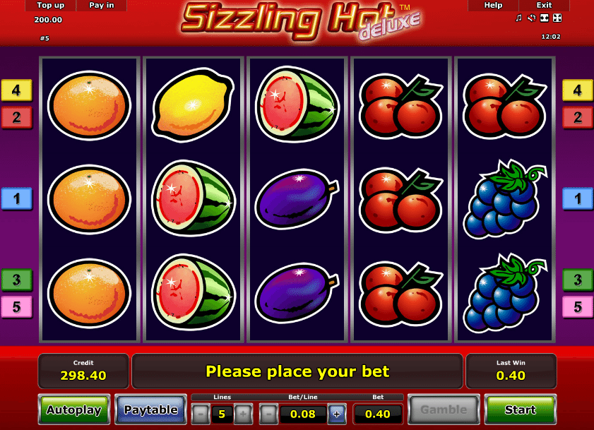 online slot machine game sizling hot online